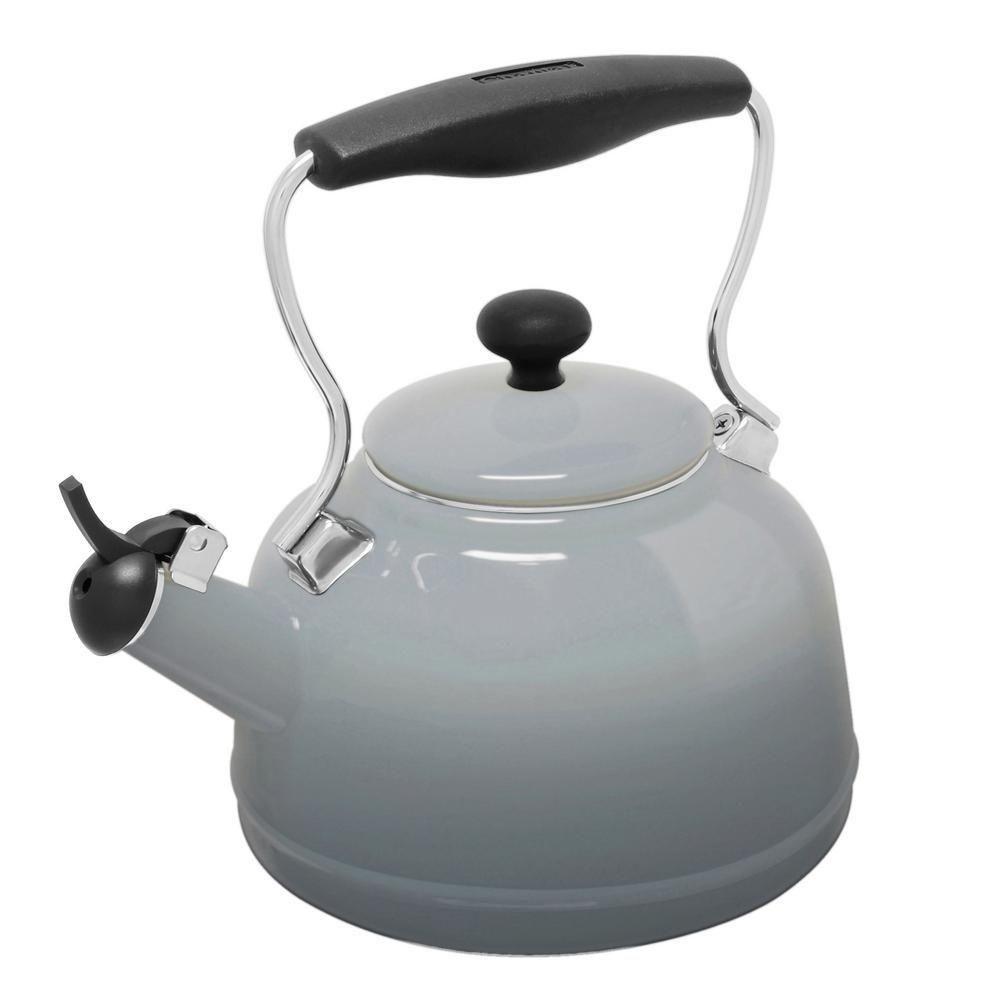 Vintage 6 8 Cups Enamel On Steel Ombre Fade Grey Tea
