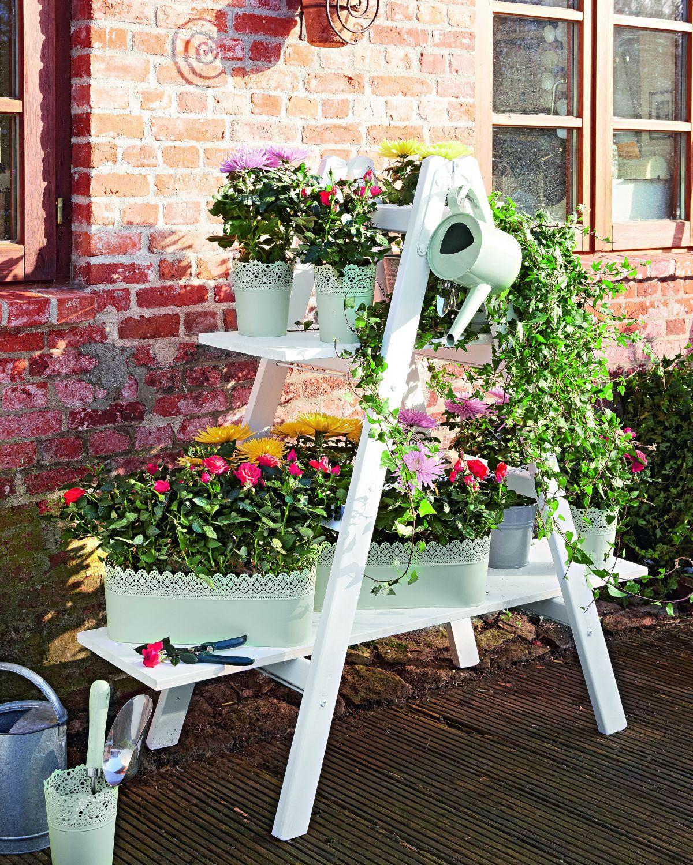 Kwietnik Z Drewnianej Drabiny Oryginalny Stojak Na Kwiaty Instrukcja Wykonania Rustic Flower Arrangements Diy Garden Rustic Flowers