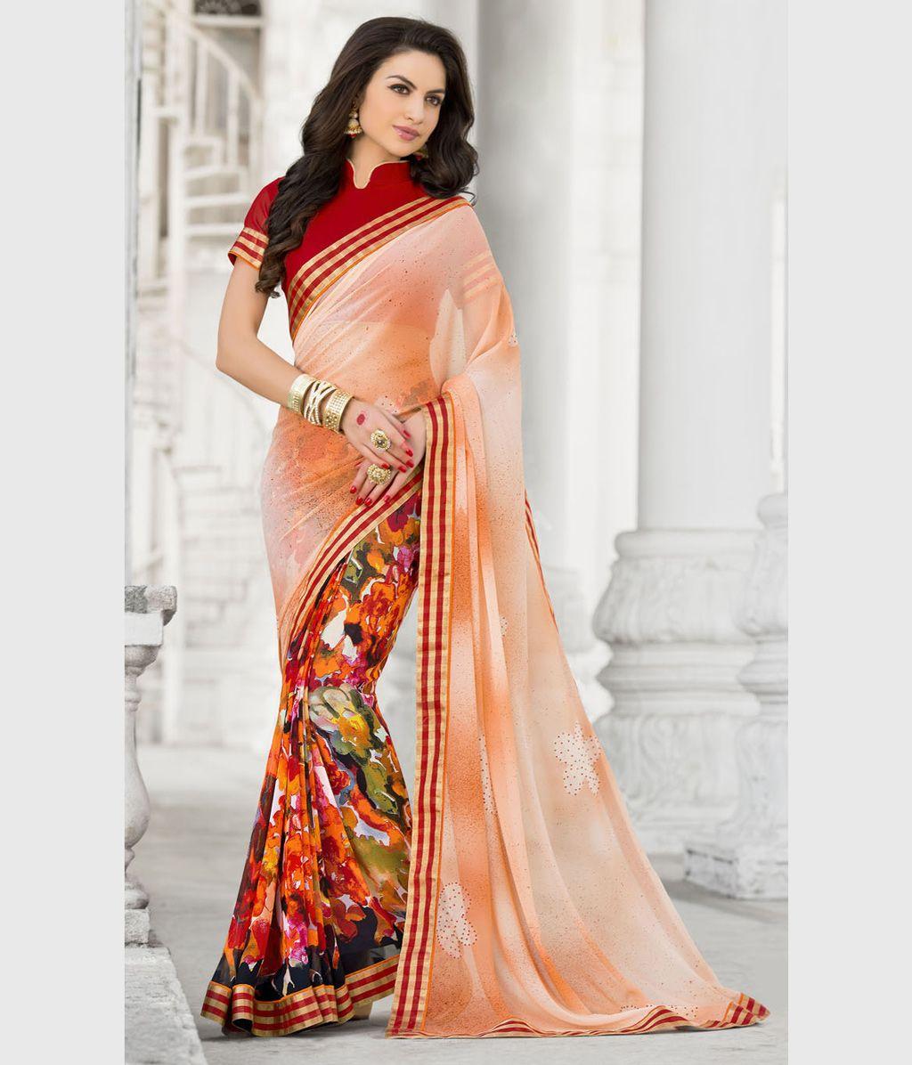 Silk saree below 2000 peach georgette printed saree with blouse   printed sarees