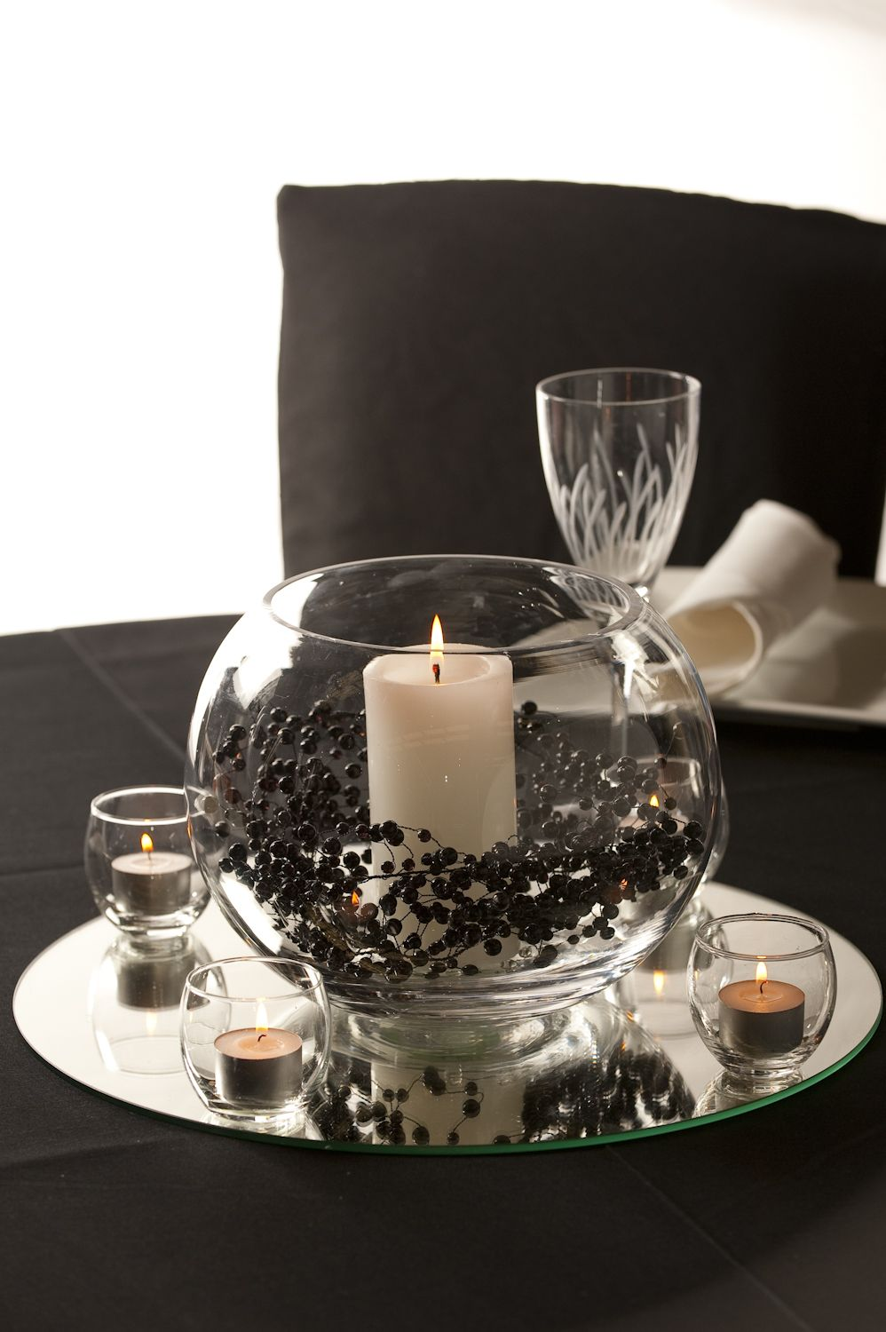 Glass Rose Bowl With Candle And Garland Centerpiece Rose Bowl