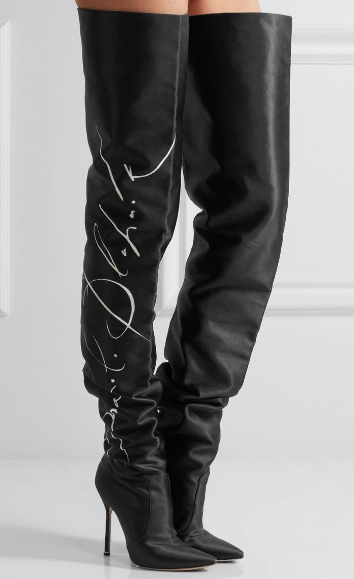 1ff94d2c6a4 Vetements x Manolo Blahnik Printed Satin Thigh Boots - See the entire  collaboration at Your Next Shoes!