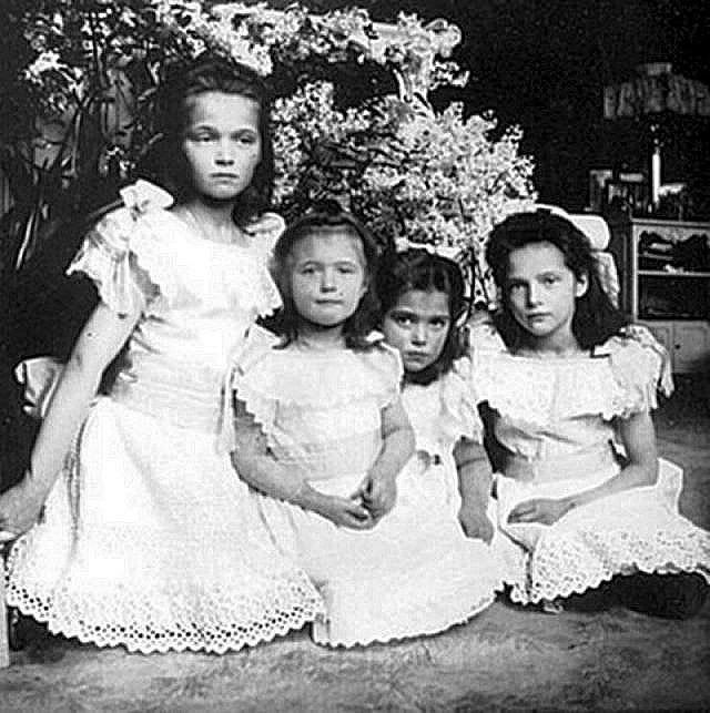 Olga, Anastasia, Marie, and Tatiana, daughters of Nicholas and Alexandra, all executed in 1918 by the Bolsheviks along with their brother and parents