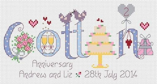 2nd Anniversary Cross Stitch Kit