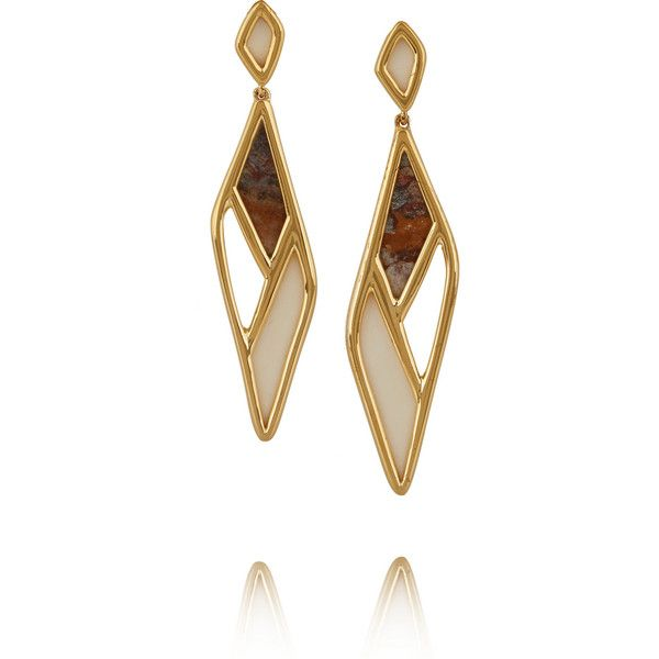 Maiyet Mosaic gold-plated bone and wood earrings