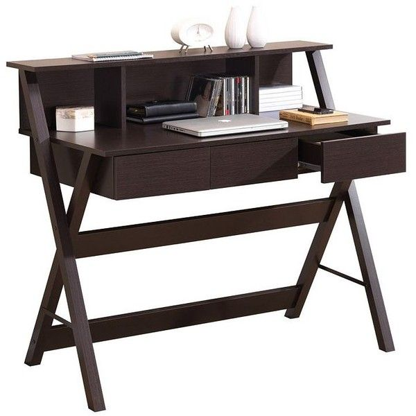 Techni Mobili Fashionable Workstation Computer Desk (Brown) (700 RON) ❤ liked on Polyvore featuring home, furniture, desks, brown, colored furniture, brown computer desk, brown desk, brown furniture and particle board furniture
