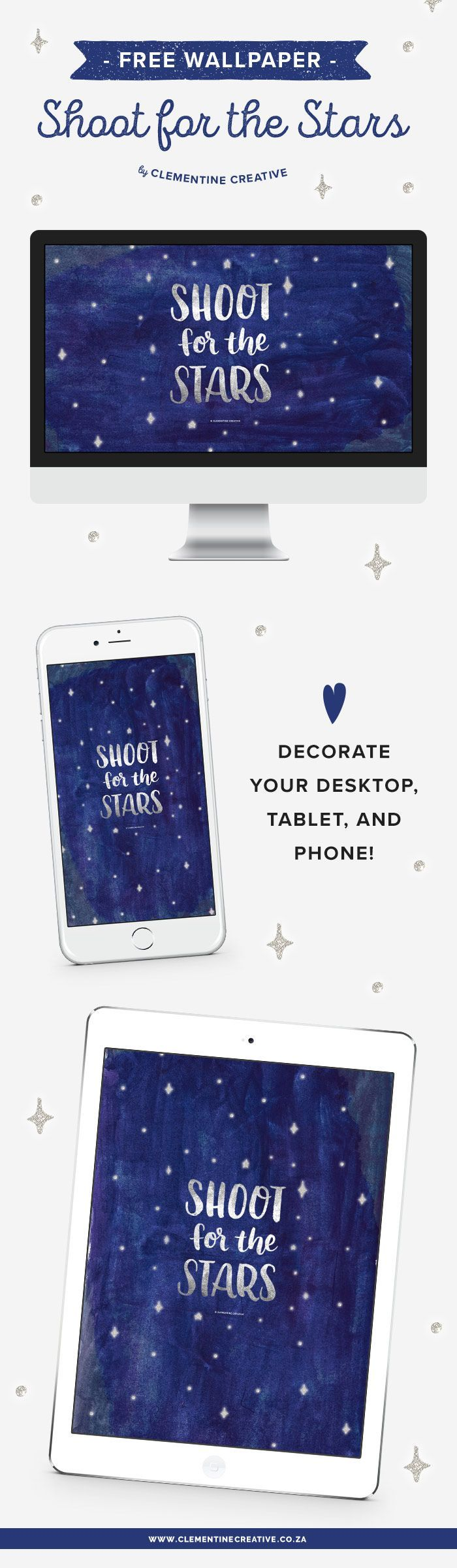 Shoot for the Stars with this beautiful free wallpaper background from Clementine Creative. Download here!