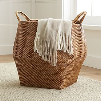 Sedona Honey Round Rattan Storage Basket