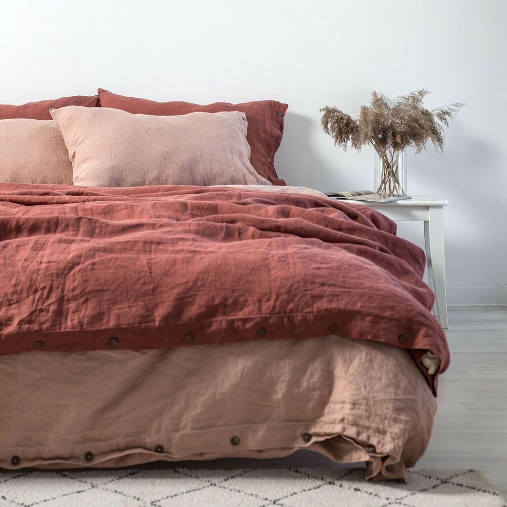 Burnt Orange Linen Duvet Cover Queen Full King Custom Size Linen Bedding Ebay Bed Linens Luxury Bed Linen Design Contemporary Bed Linen