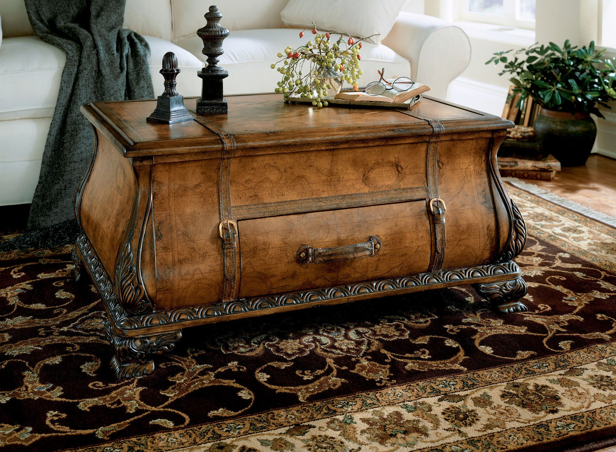 Vasco Old World Map Bombe Trunk Table by Butler Specialty pany