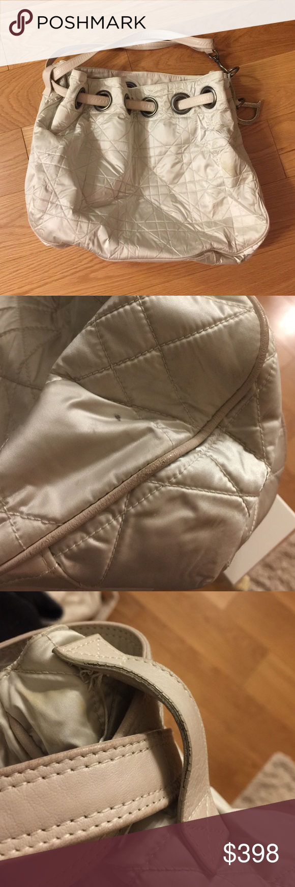 Dior large quilted champagne drawstring bag Large size quilted drawstring bag, preloved, in gorgeous champagne color. ALL signs of wear noted above in pics. Great deal for a large size designer bag! Offers welcomed! Dior Bags