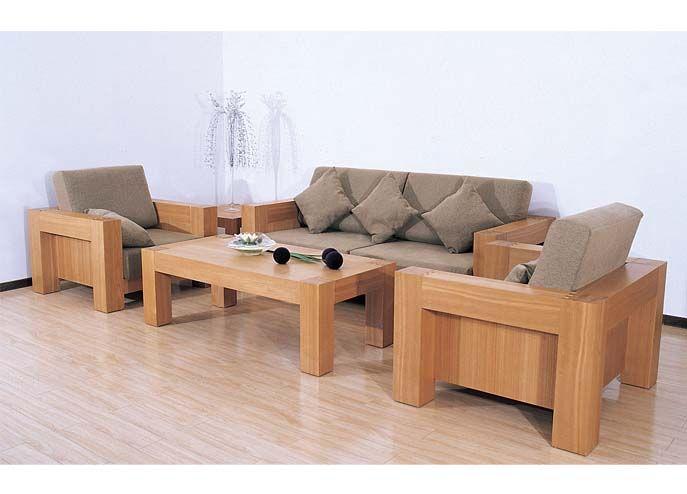 Simple Wooden Sofa Set Design For Minimalist Living Room