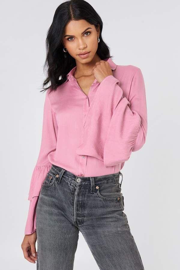 5e89d8f5465 Josefin Ekström For Na Kd Ruffle Sleeve Shirt Dusty Pink in 2019 ...