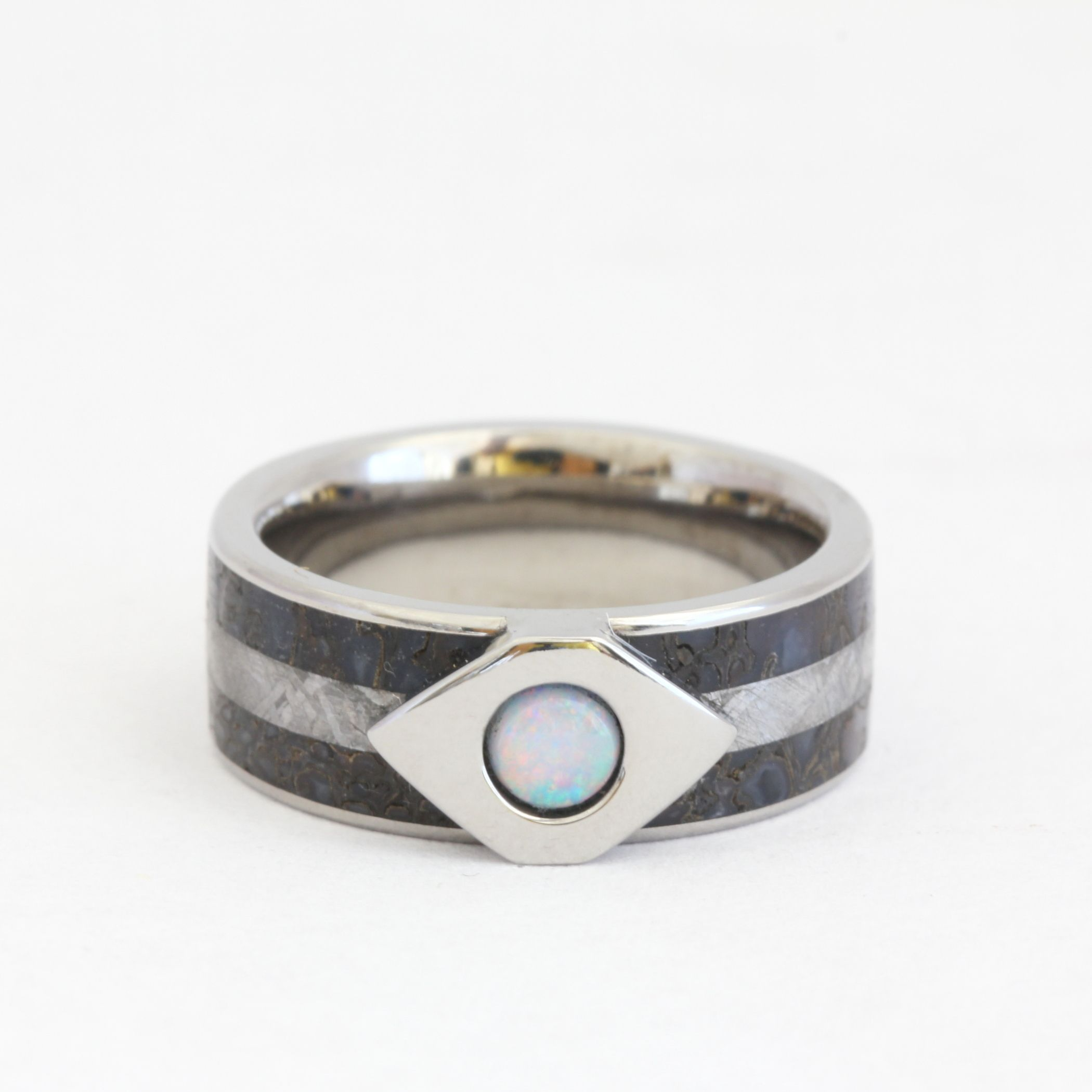 white opal wedding ring, dinosaur bone and meteorite | dinosaur