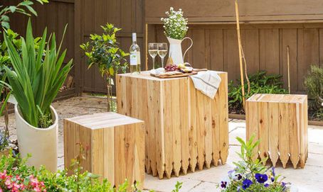 Perfect for a sunny spot in a courtyard, on a balcony, or even on a small deck, this decorative pine table and matching seats won't cost you an arm and a leg, is easy to make and you can use reclaimed timber.  http://www.home-dzine.co.za/garden/garden-easy-tables.htm