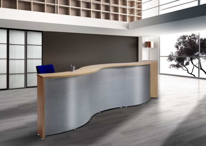 Mostrador curvo muebles para despachos material de for 8 6 mobiliario de oficina