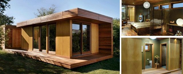 this low impact eco friendly prefab cabin consists of two prefabricated modules separated by a wide unroofed breezeway this modern cabin is also - Prefab Modern Cabin