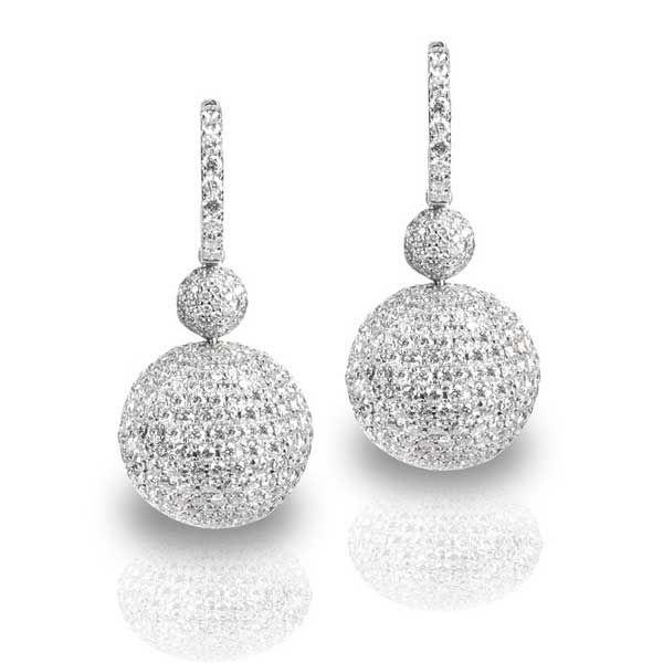 King Jewelers Double Pave Diamond Ball Earrings