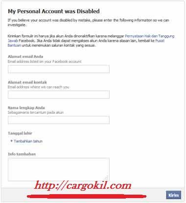 Cara Membuka Akun Facebook Dikunci Sementara Facebook