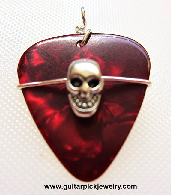 Guitar pick pendant skull on red pick by twistedpicks on etsy guitar pick pendant skull on red pick by twistedpicks on etsy aloadofball Choice Image