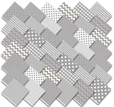 "Riley Blake Charm Pack LOT Variety Gray 48 squares 5"" Precut Fabric COTTON"