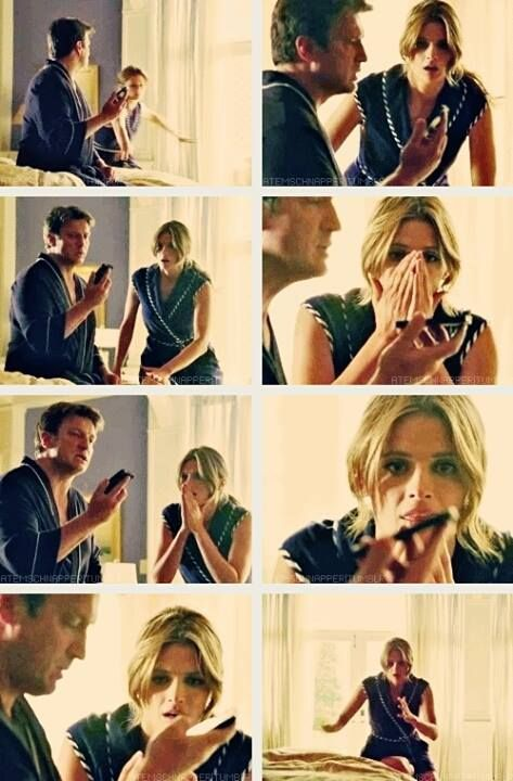 """Best moment of season 5. I still crack up. :D  """"I'm pretty sure he told me everything he knows"""" - Ryan  """"Everything?!"""" - (whispers) Beckett"""