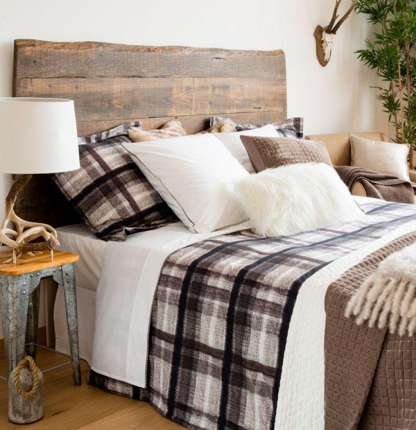 Schlafzimmer Rustikal kariert karomuster naturfarben schlafzimmer rustikal kopfteil aus