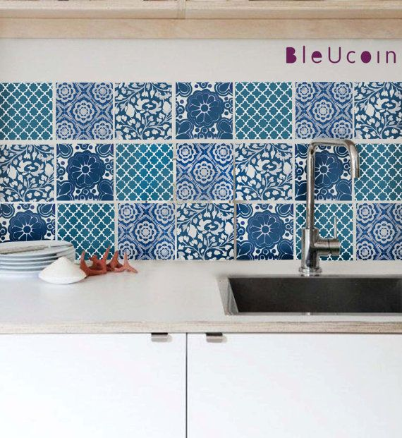 Wall Decal Indian Blue Pottery Tiles 4 Designs 44 Tiles On Etsy 68 49 Blue Pottery Tile Decals Kitchen Tiles