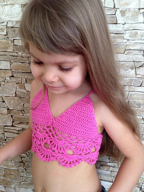 Crochet toddler top Pink crochet crop top Open back halter top Beach clothing for kids Lace Childrens bikini bra Crocheted bohemian toddler