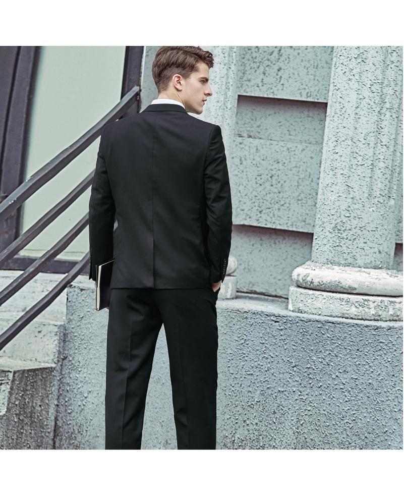 Mens black suit black Colour 3PCS set (suit + vest + pants) High ...