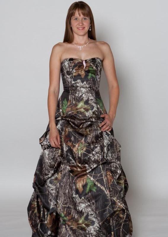 Simple Camouflage wedding dress maybe with orange sash around waist