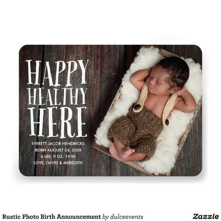 Rustic Photo Birth Announcement