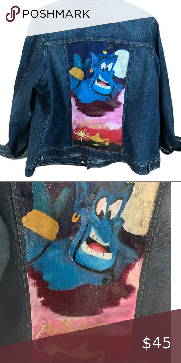 Sonoma Aladdin Denim Jean Jacket Handpainted Sonoma jean jacket  Size 1X excellent condition  Aladdin hand painted poster on the back  Hand wash only , preferably spot wash  Ships from smoke free home Sonoma Jackets & Coats Jean Jackets