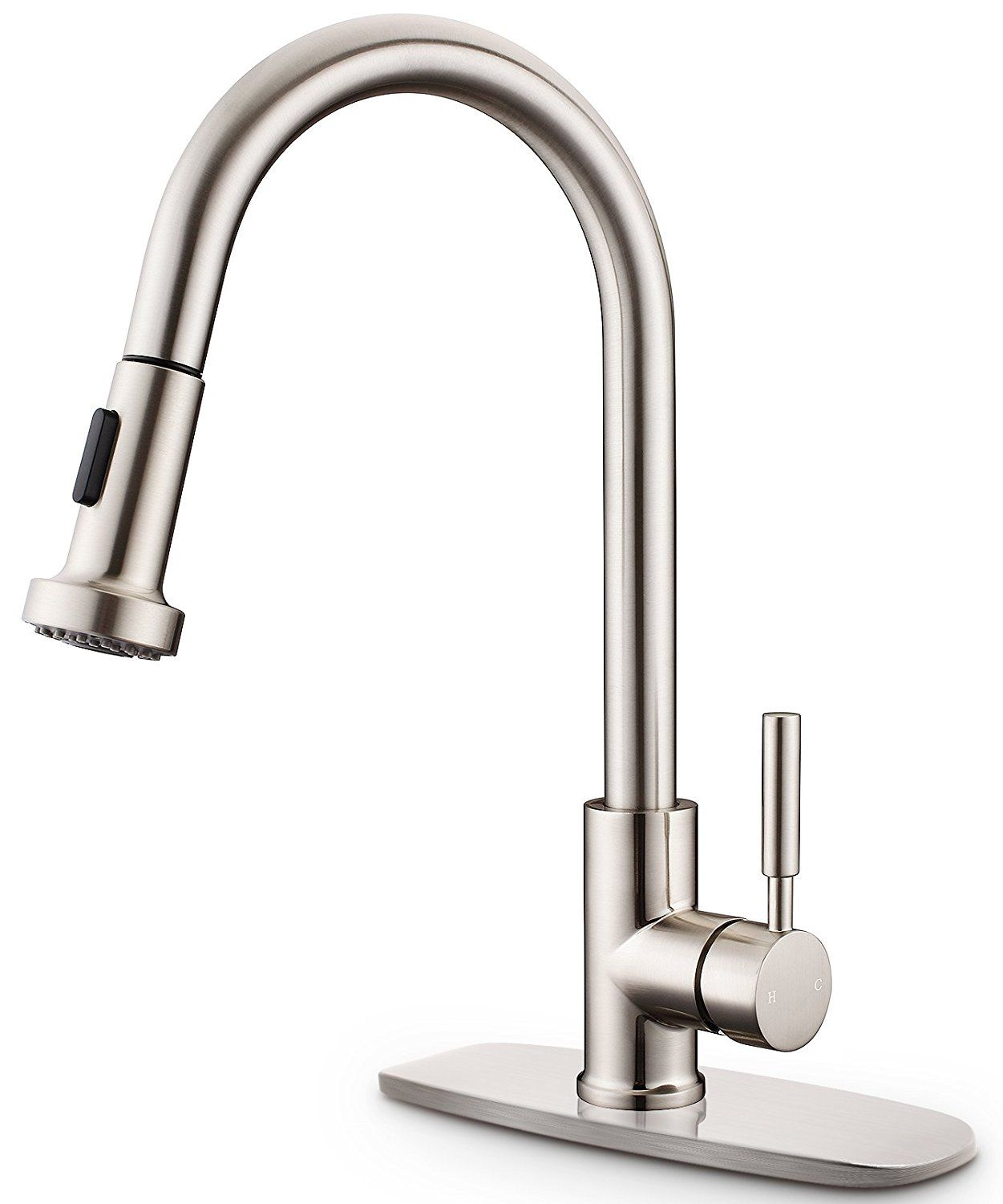 Brushed Nickel Kitchen Faucet Sarissa High Arch Spring Pull Down