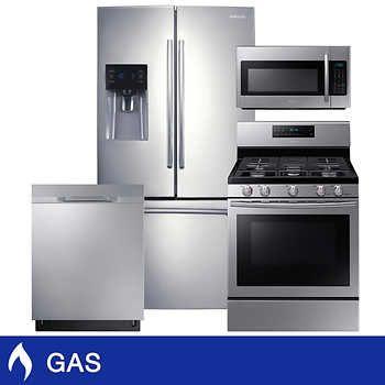 Samsung 4 Piece Gas 25cuft 3 Door French Door Refrigerator Kitchen
