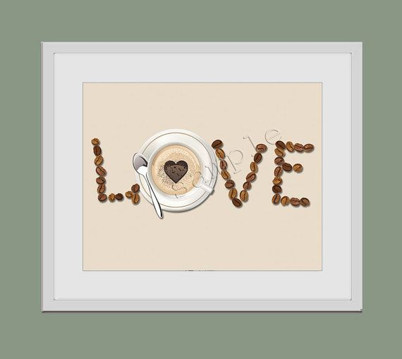 Grano de café amor ilustraciones 8 x 10 Art Print café café arte ilustraciones