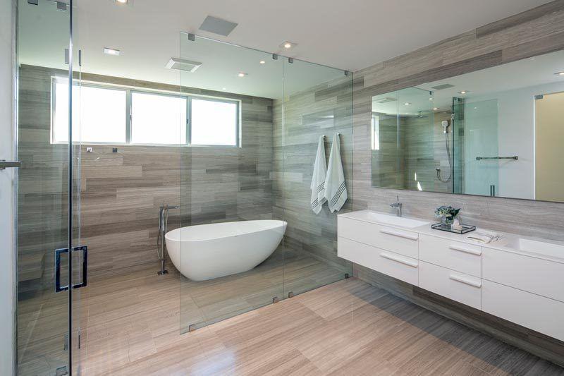 Love: Modern Master Bathroom w/ Enclosed Wet Room for Tub & Shower  (Wood-like Tile Floors & Walls, floating do… | Wet rooms, Modern master  bathroom, Bathroom design