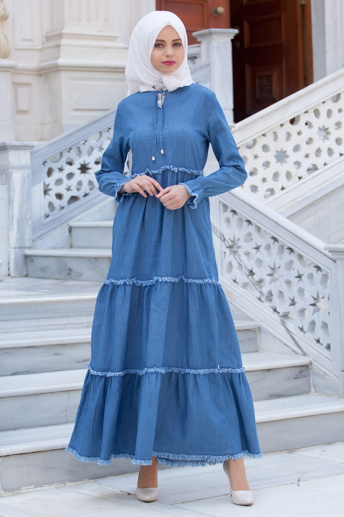 Sedanur Tesettur Kot Elbise Modelleri Kot Elbiseler Maksi Elbiseler Elbise Modelleri