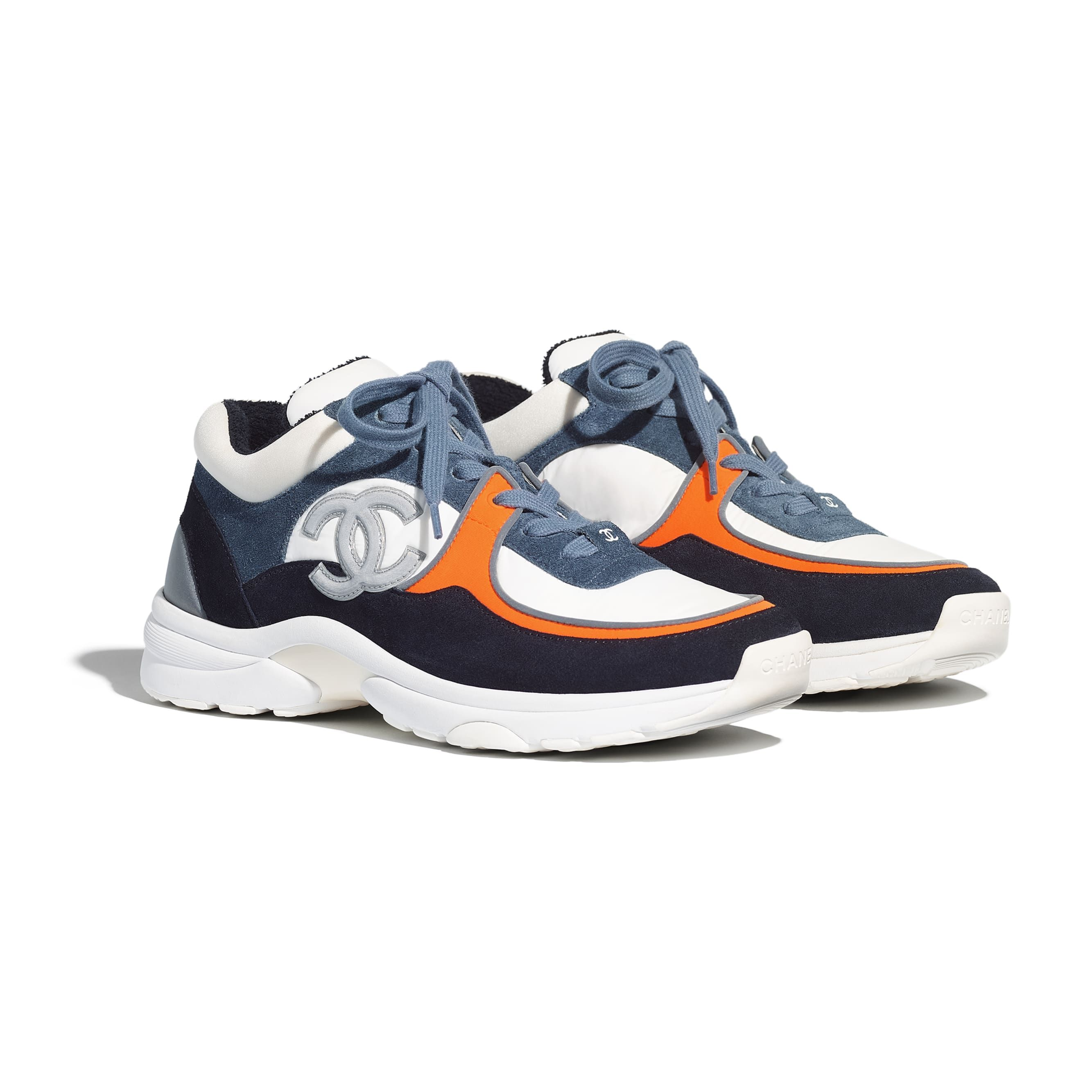 orange and blue gym shoes