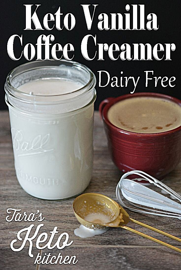 This dairy free keto vanilla coffee creamer has only 1 carb per serving and is quick to whip up and...
