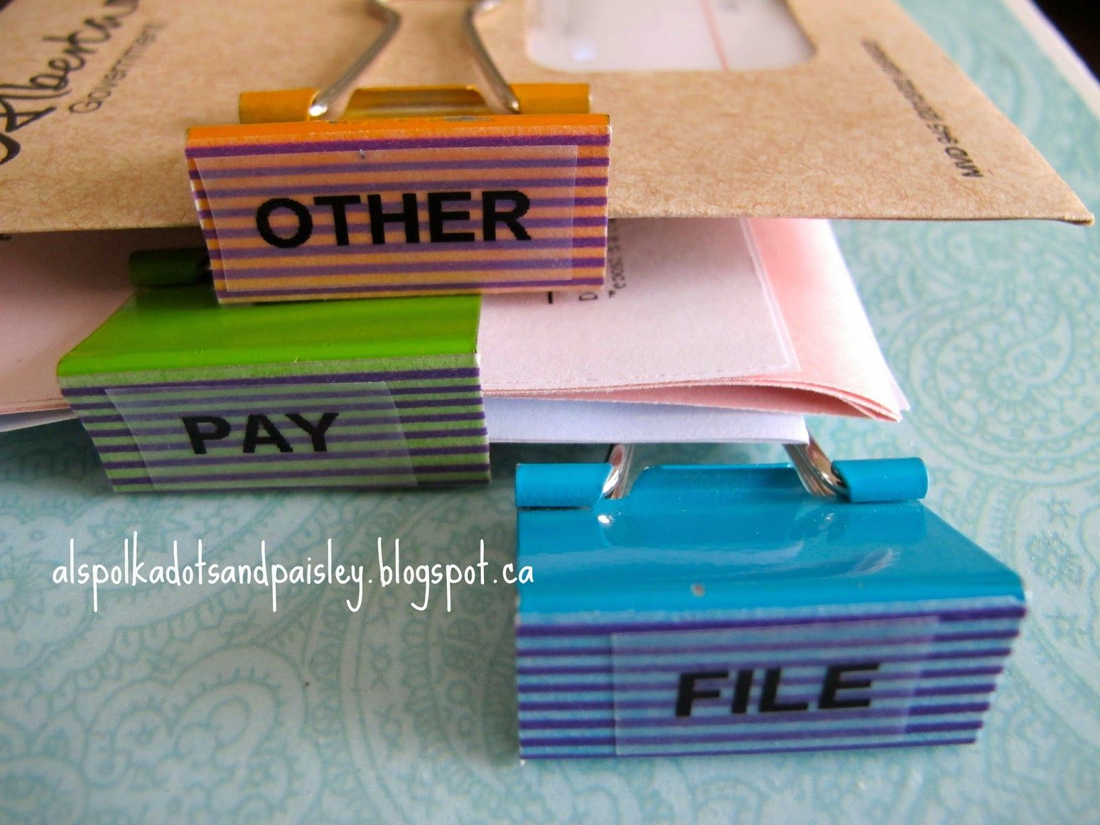 Polka Dots and Paisley: Easy Organization Binder Clips