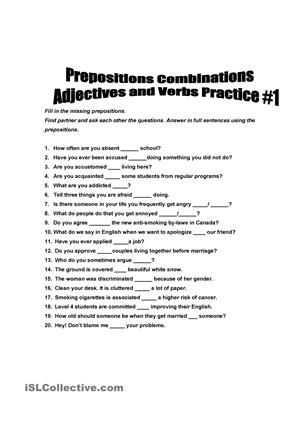 Can Be Used To Practice Asking And Answering Questions Using Adjective Or Verbs With The Correct Preposition Com Prepositions Adjectives This Or That Questions Adjectives worksheets with answers for