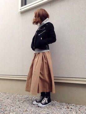 ファッション · 寒い冬の日はロングスカートで冷たい風を シャットアウト!公園では