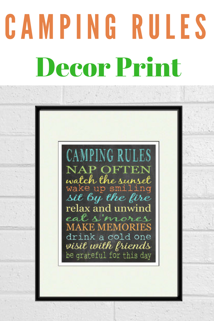 """this """"camping rules"""" print makes the perfect wall art gift for the"""