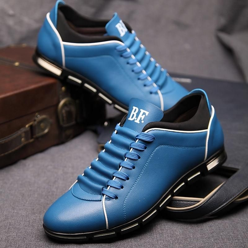 Men's Casual British Style Flats PU Leather Lace Up Oxford