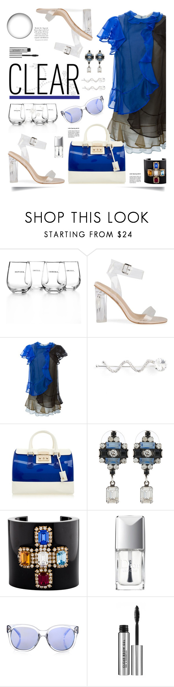 """""""It's All Clear Now"""" by hamaly ❤ liked on Polyvore featuring The Cellar, Christopher Kane, Ficcare, Furla, DANNIJO, Chanel, Christian Dior, Le Specs, Anastasia Beverly Hills and clear"""