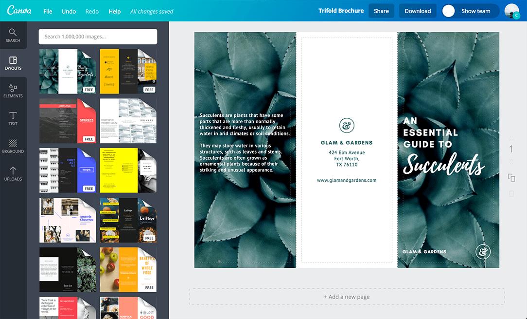 create a brochure in