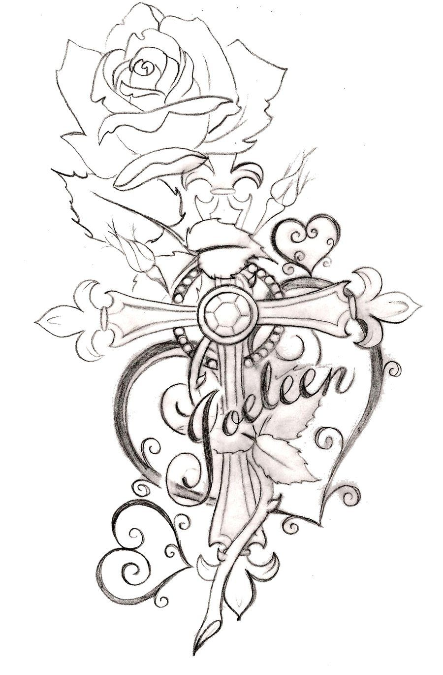 Heart With Rose And Banner: Pin On Tattoos And Flash