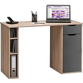 Utah Computer Desk Oak Grey Gloss Muebles Para Computadora Muebles Para Espacios Pequenos Diseno De Escritorio