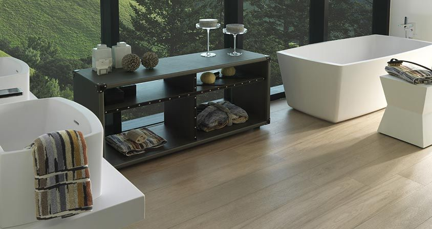 Contemporary home accesories products by pocelanosa modern bathroom with raised sinks and stand alone tub