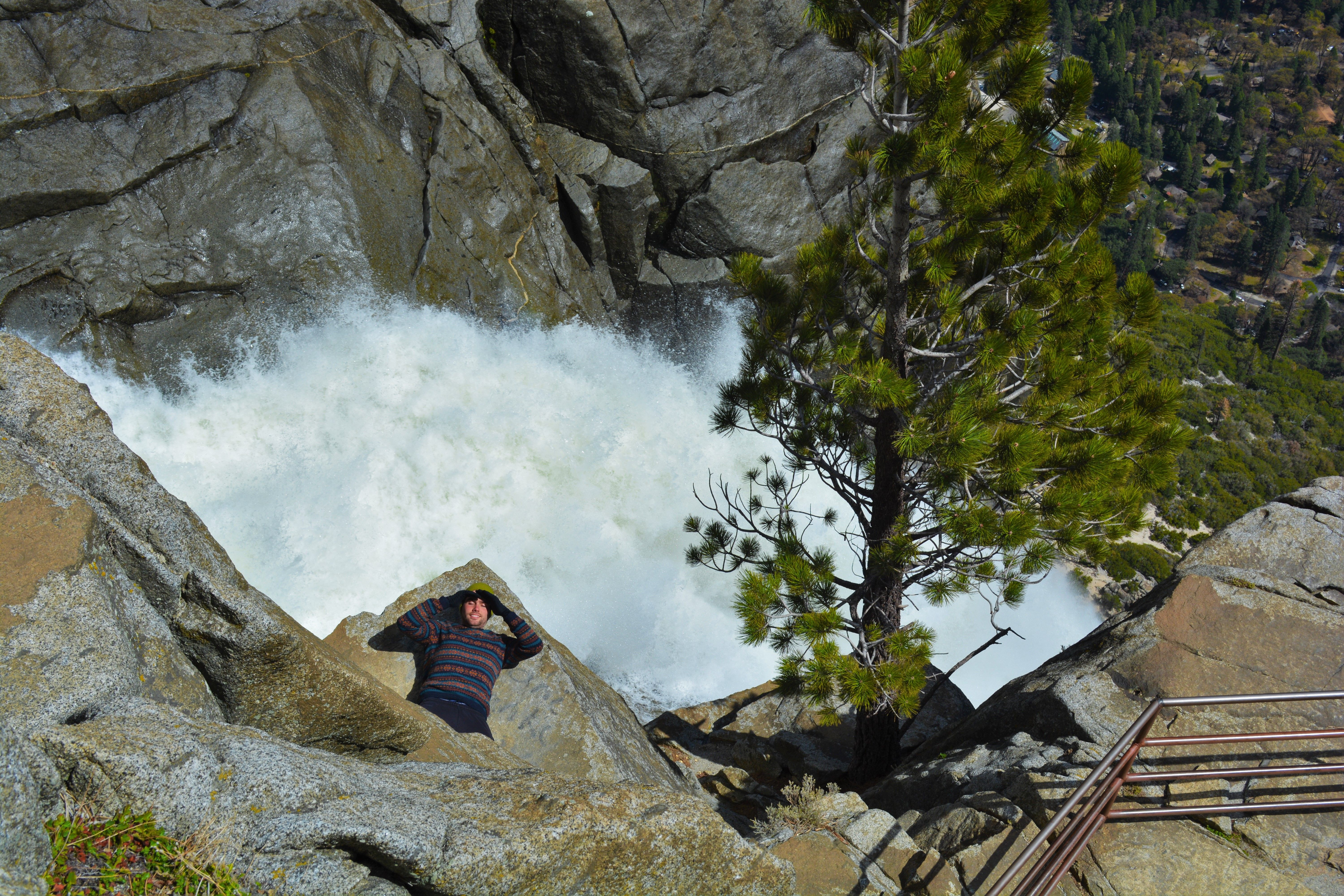 The top of the biggest waterfall in the US is a great place for a nap!